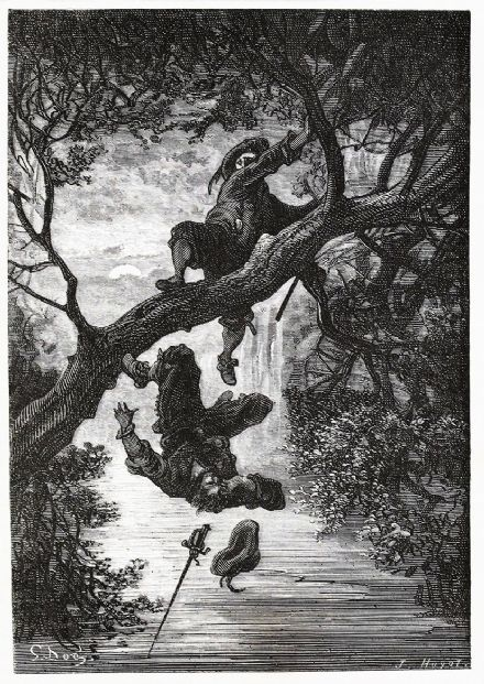 Dore, Gustave: Heavy Fall (Illustration from Le Capitaine Fracasse) Fine Art Print/Poster. Sizes: A4/A3/A2/A1 (3975)